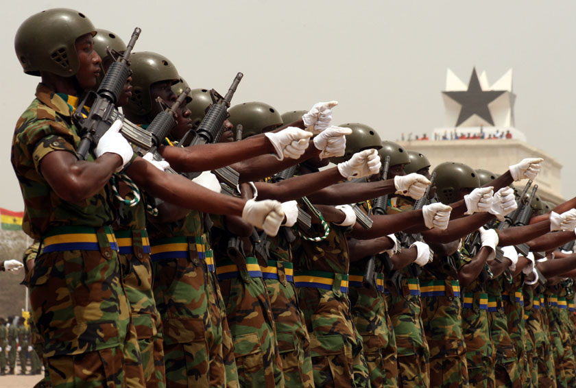 Members of the Ghanaian army march through Independence Square, celebrating 50 years of independence from Britain, Accra, Ghana, 6 March 2007. Tens of thousands of people attended the event dressed in red, yellow and green, the colour of their flag, as th