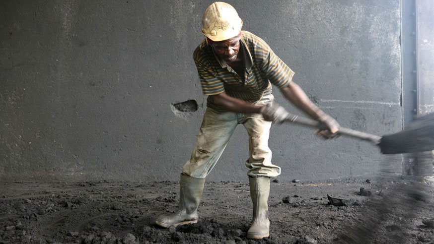A worker on duty at a coal mine belonging to Maamba Collieries, the largest coal producer in Zambia, 2 March 2007. The country's mining sector plays a significant role in the country's economy