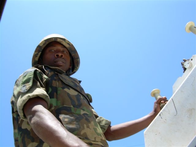 A Ugandan African Union peacekeeper on patrol in Mogadishu, Somalia,  22 March 2007. The mood is tense in the capital, with many shops and businesses shut and roadblocks preventing civilians moving about, especially in the south of Mogadishu.