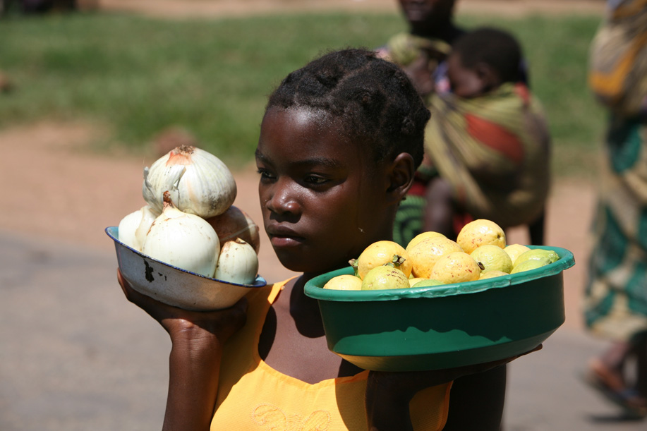 A young girl among many selling fruit by the roadside, Zambia, March 2007. Zambia has a high rate of child labour. More than 90 percent of child labourers earn as little as US$3 per month.