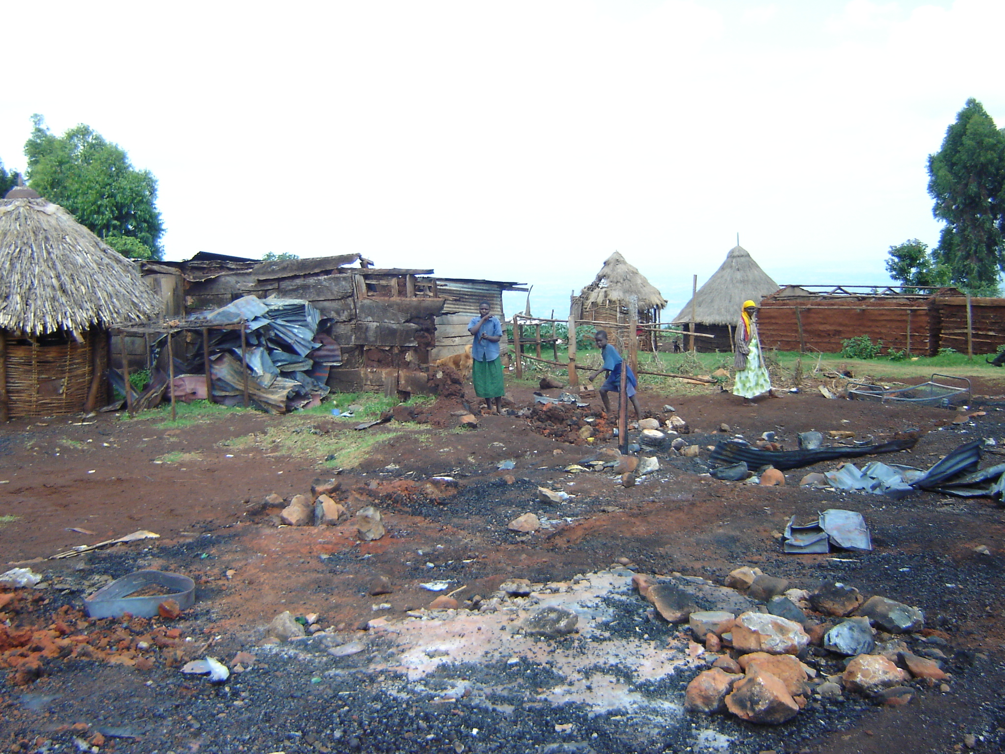 Abandoned and burnt houses, in the controversial Chebyuk settlement scheme, Mt. Elgon district, Kenya, 16 April 2007.