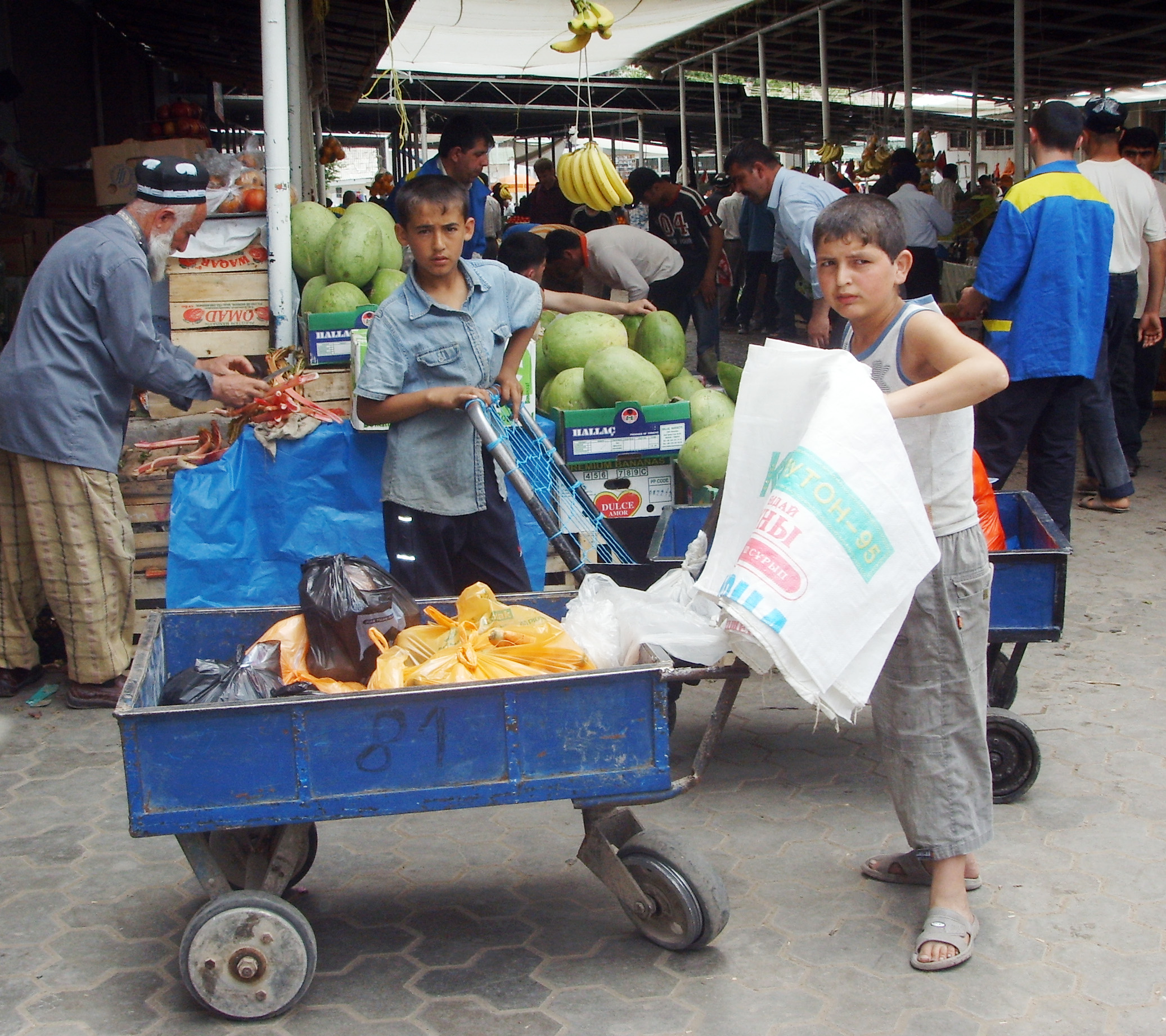 A child labourer at the Shomansur market in Dushanbe.