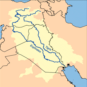 A map showing the passages of the rivers Tigris and Euphrates through Iraq.