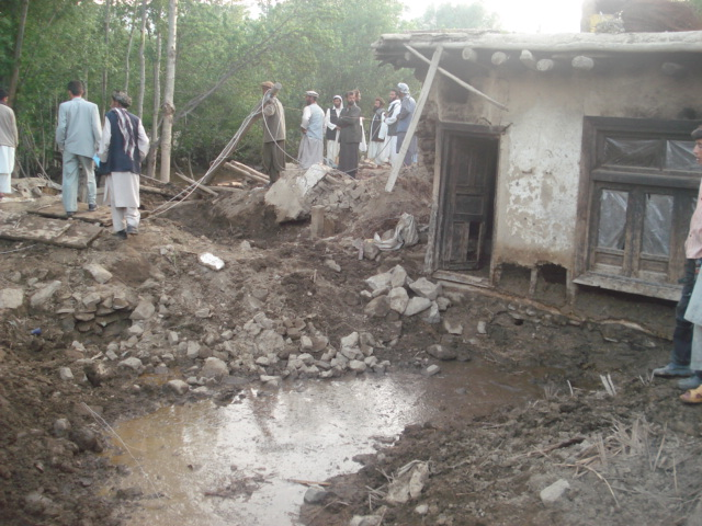 A house damaged by flooding in the Baharak district of Badakhshan.