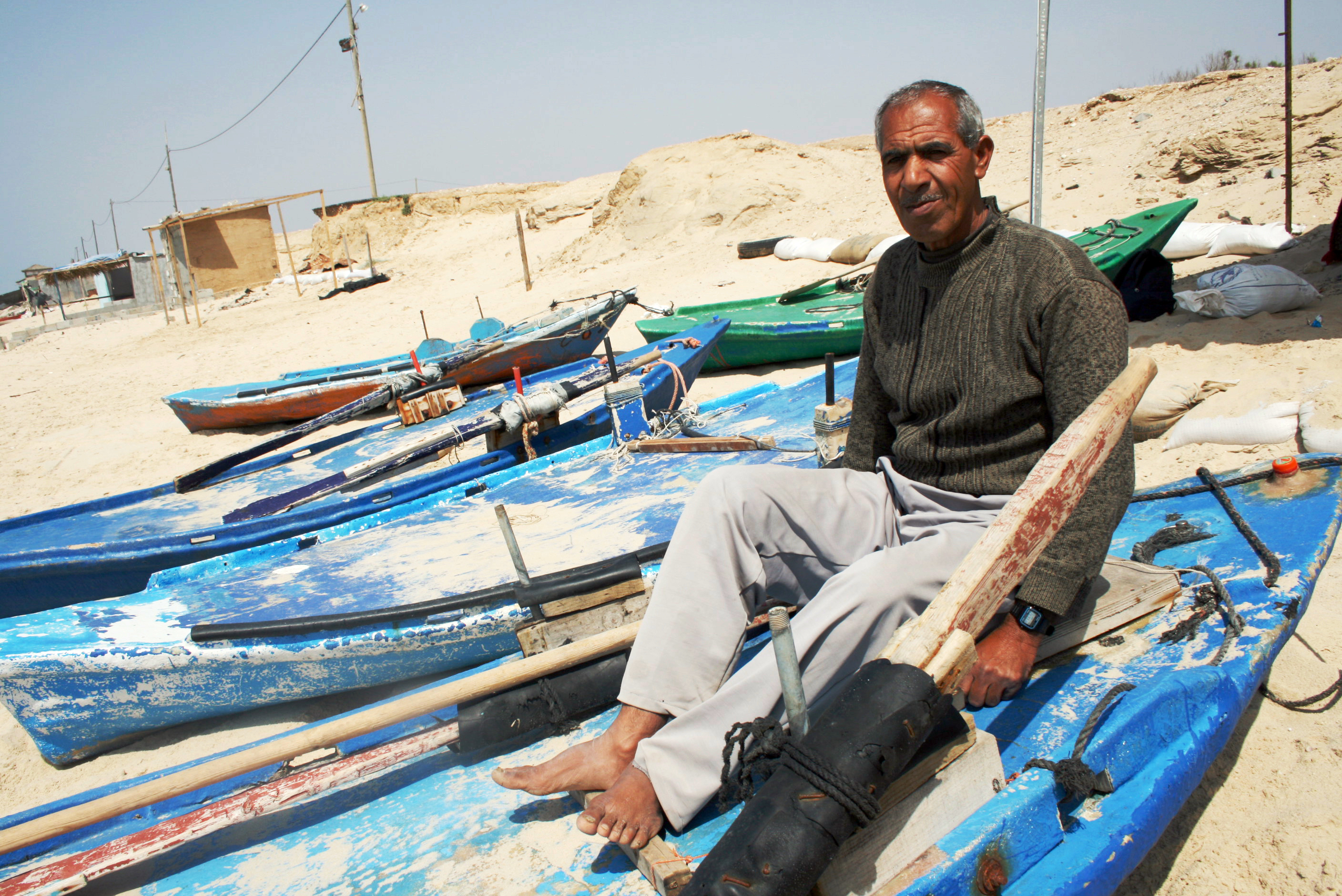 Ghanem Abu Jamal says many fishermen use very fine nets, which catch baby fish and prevent stocks from replenishing.