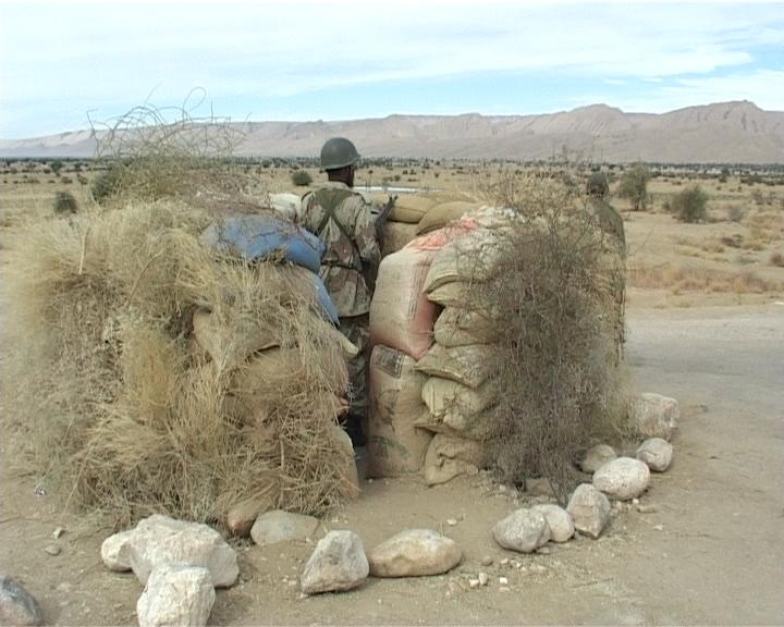 A soldier at one of many check posts in Balochistan.