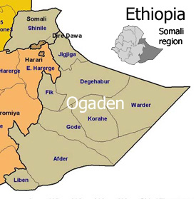 Map of Somali region of Ethiopia.