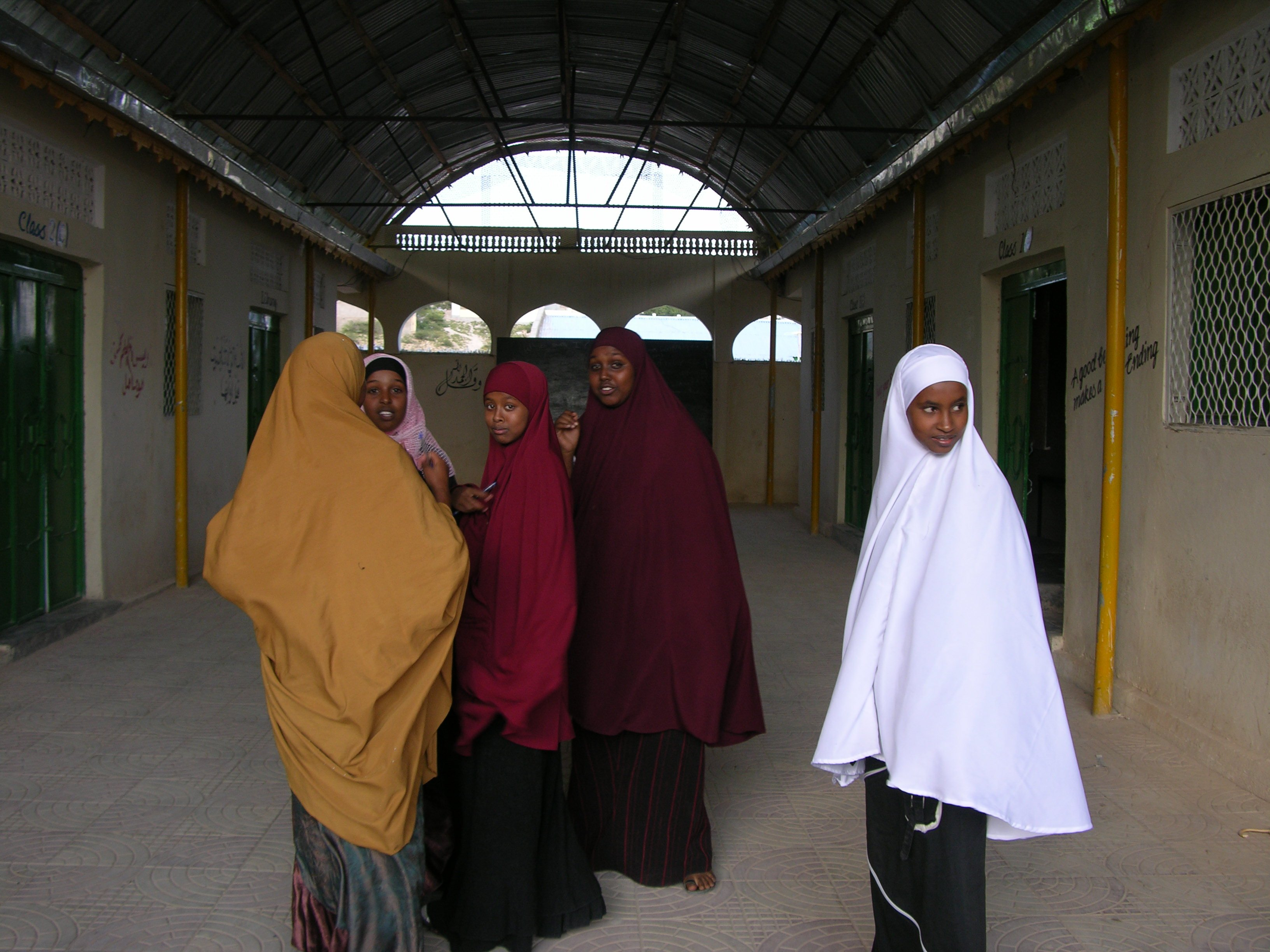 Girls outside one of the local schools,Somali, August 2007. In Somalia a child of primary school age has only about a one in five chance of attending school. At the lower primary school levels only 36 per cent of pupils are girls.The low enrolment and hig