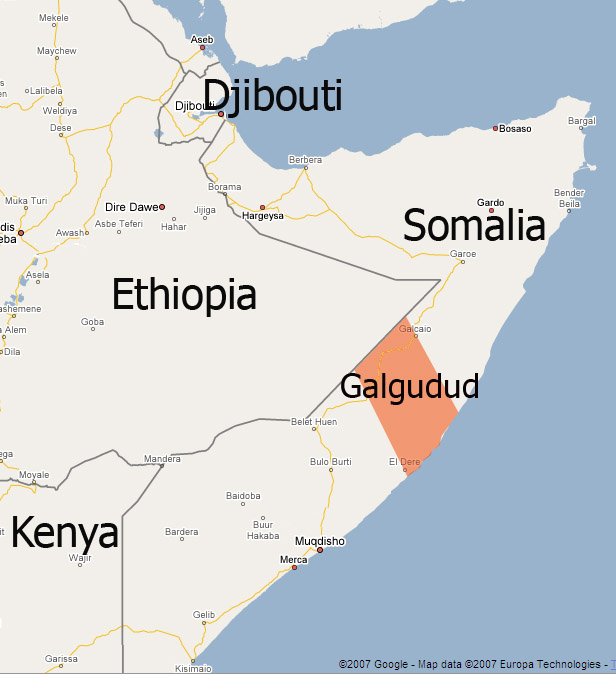 A map of Somalia and surrounding countries highlighting Galgudud ...