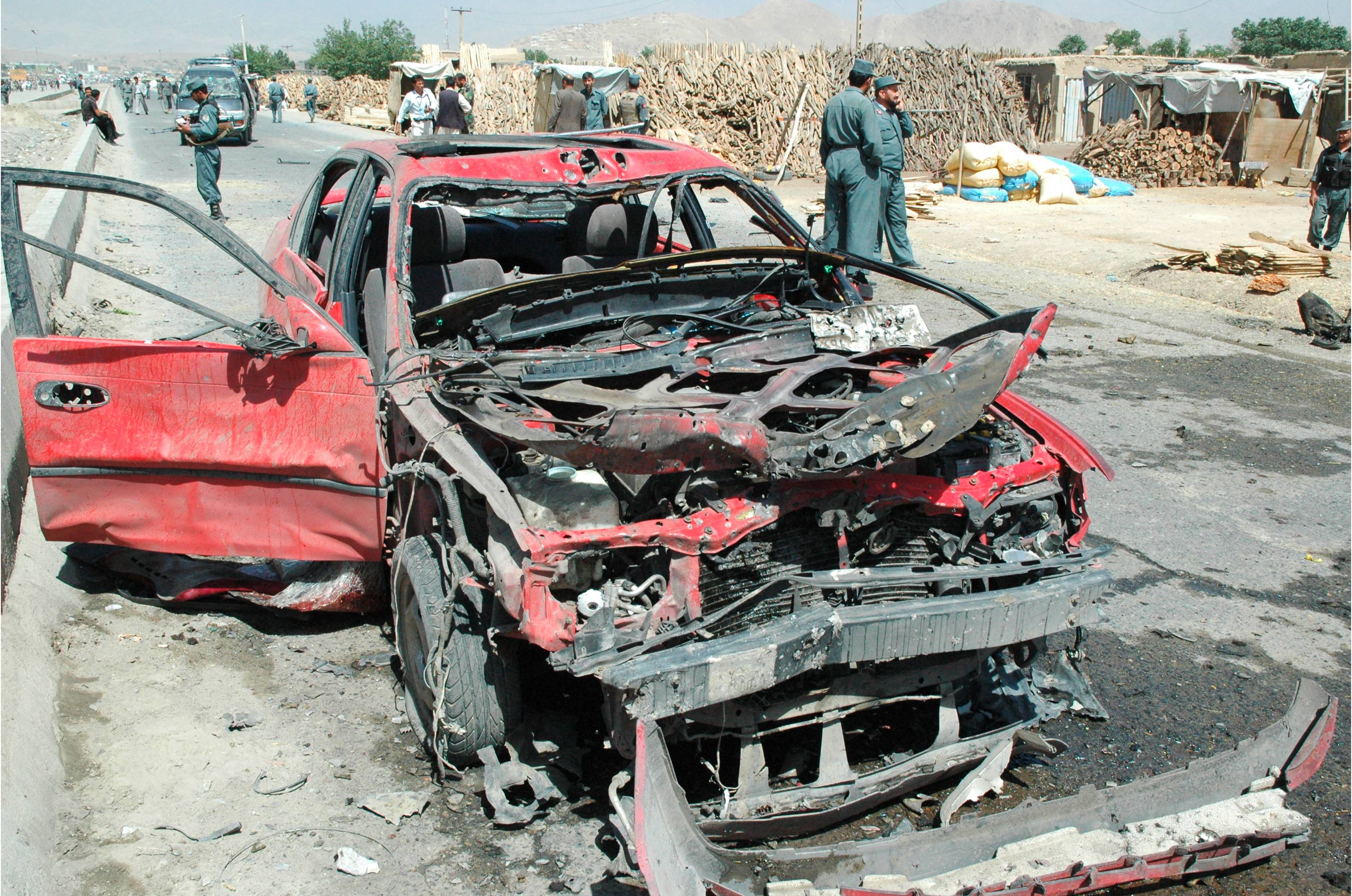 The wreckage of a suicide attack in Kabul, in June 2007.