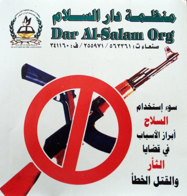 Thousands of posters are distributed among citizens to raise awareness of the danger of arms.