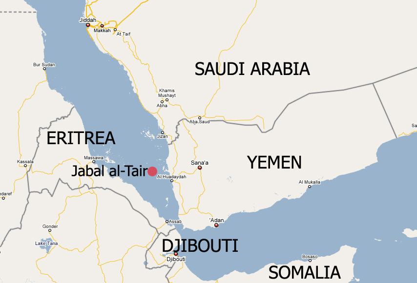 A map of Yemen and the surrounding region highlighting Jabal al-Tair in the Red Sea.