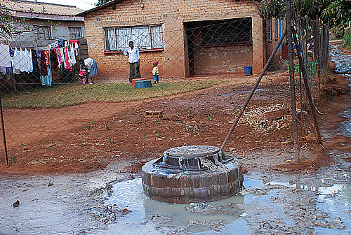 Raw sewage continues to flow from a burst sewer pipe outside a house in Kuwadzana 3 township in Harare.