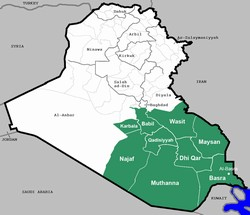 [Iraq] A map of Iraq highlighting the nine southern provinces.  [Date picture taken: 01/16/2007]