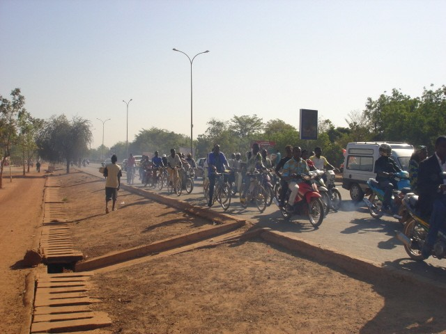 Motorbikes in central Ouagadougou. According to a World Bank-funded study, benzine from motorbike fuel is causing 200 new cancer cases every year.