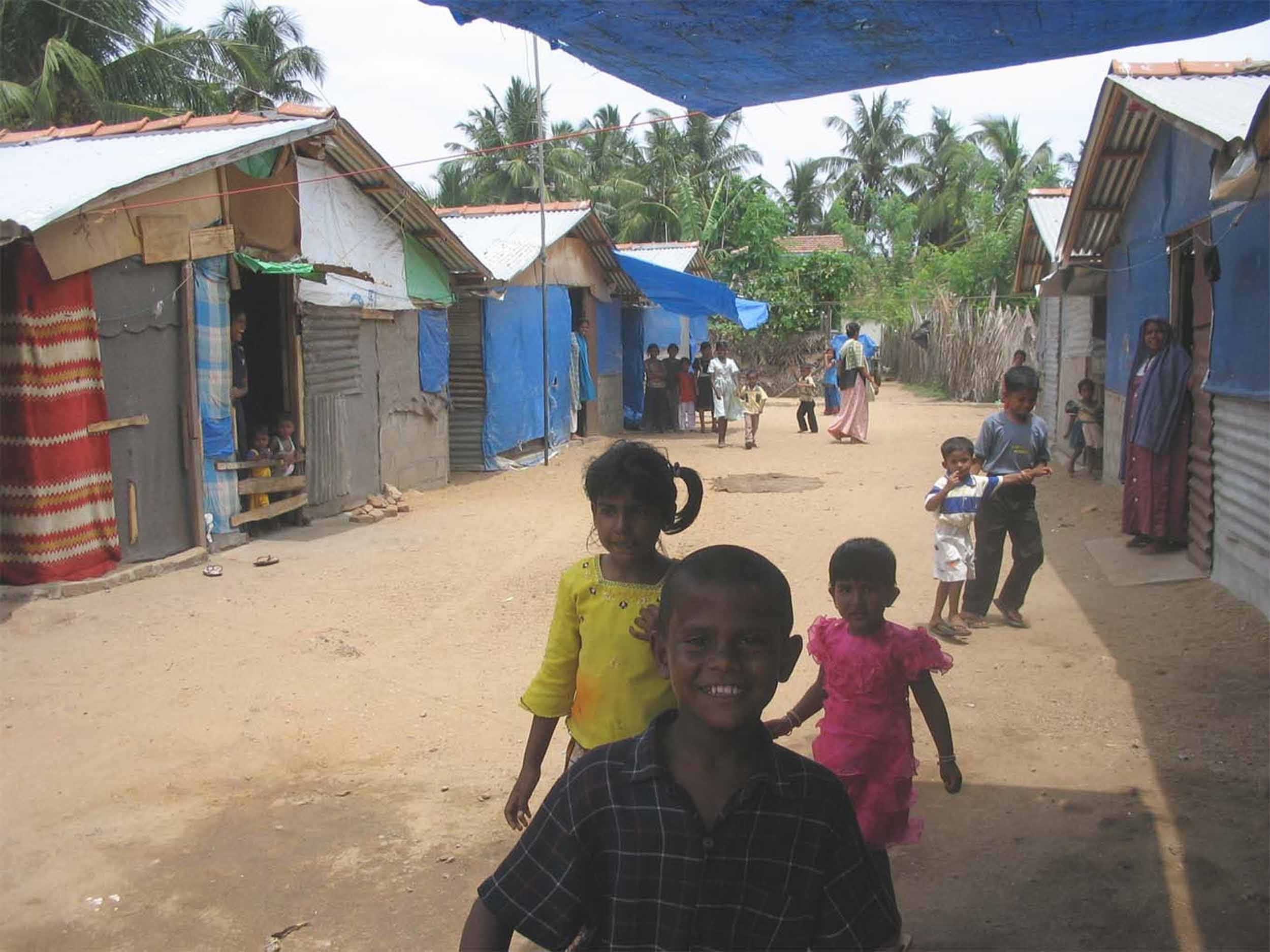 Children at the Jiffrey tsunami shelter in Kalmunai on the east coast of Sri Lanka. For many of them the camp has been home since the 2004 tsunami.