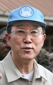 [Kenya] A portrait of the new UN Secretary-General, Ban Ki-moon, in Soweto village, Kibera, Nairobi, Kenya, 30 January 2007. Ban succeeded Ghanaian Kofi Annan in January 2007. He will lead the UN for the next five years. Ban, 62, has become the first Asia