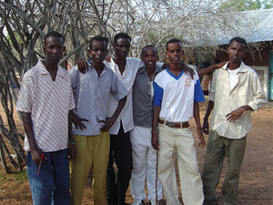 [Kenya] Abdi and his friends in Hagadera camp. Young people in Dadaab face incredible hardships, and have spent all their lives trapped in the camps. [Date picture taken: 02/04/2007]