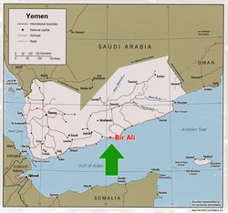 [Yemen] A map of Yemen highlighting Bir Ali. [Date picture taken: 01/102007]