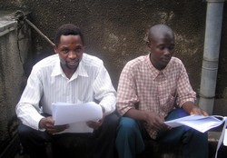 [Burundi] Former Burundi refugees, who play Majambere (left) and Ngesombi (right) in the IRIN Radio drama, in Burundi's capital, Bujumbura, 5 February 2007.