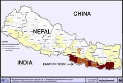[Nepal] A map of Nepal highlighting the southern Terai region, known locally as the Madhes.