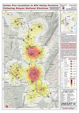 UNOSAT map of active fires in a part of Kenya's Rift Valley Province showing likely areas of post-election arson and clashes. Released 4 January 2008.