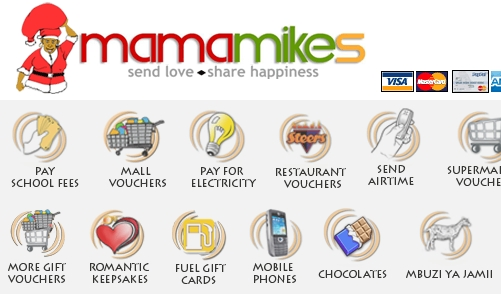 Snapshot of MamaMike's website which sells mobile airtime for Kenyans.