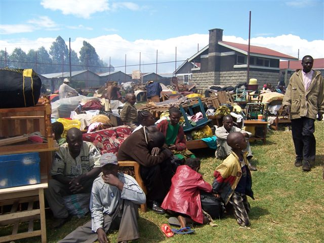 Internally displaced people seek shelter at church grounds in Kericho, Kenya. January 2008. Majority of people have been displaced following the post election violence that has been rampant in most parts of Kenya.