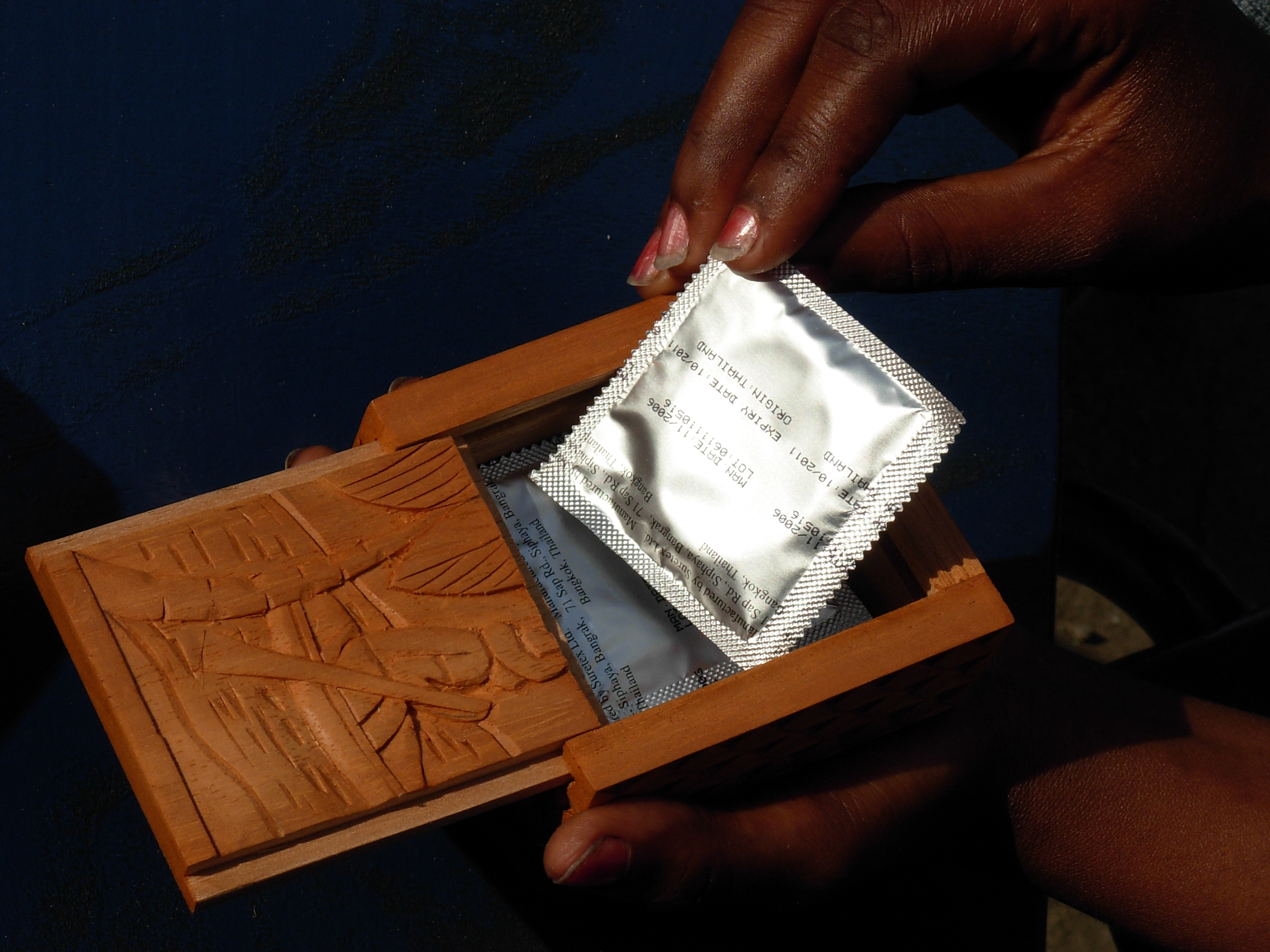 Little wooden boxes for condoms are given to sex workers who participate in ALISEI´s sex education programs in São Tomé and Príncipe.