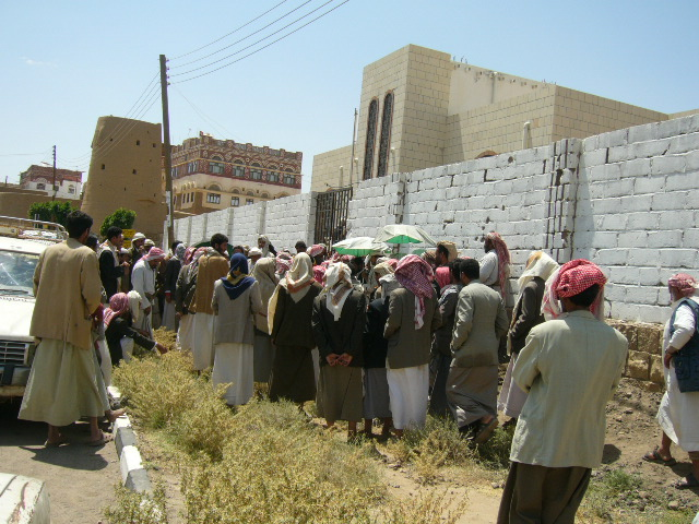 Displaced people gather in Haidan district in Saada.