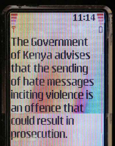 The government issued a warning by SMS to all Kenyans to beware of inflammatory speech in the aftermath of contested presidential elections in 2007.