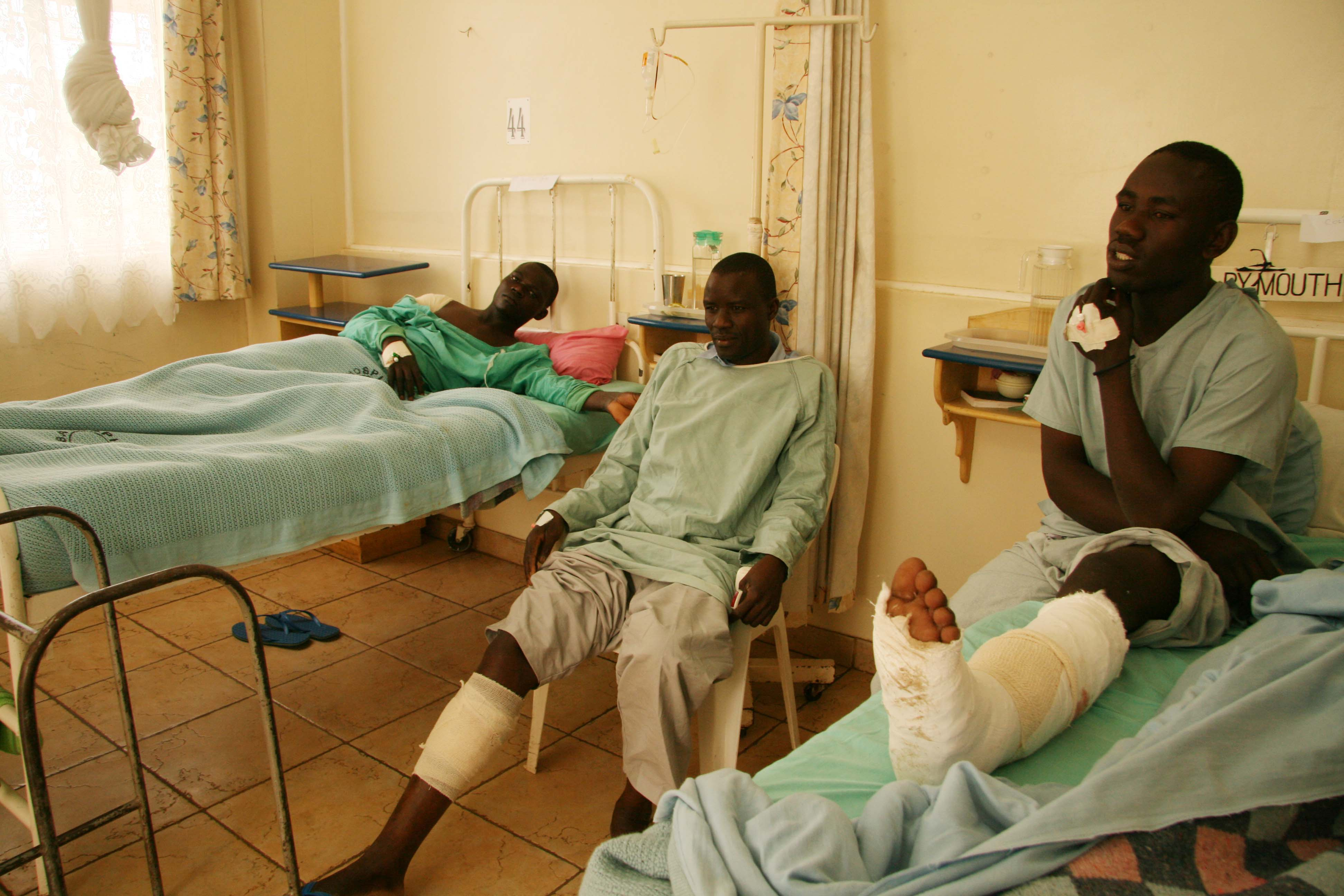 Victims of the post election skirmishes nurse their wounds at the Masaba hospital, Nairobi, Kenya. January 2008.
