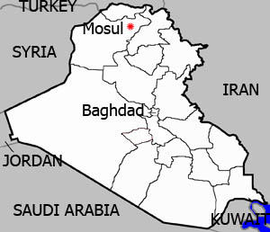 A map of Iraq highlighting Mosul city in Ninawa governorate.