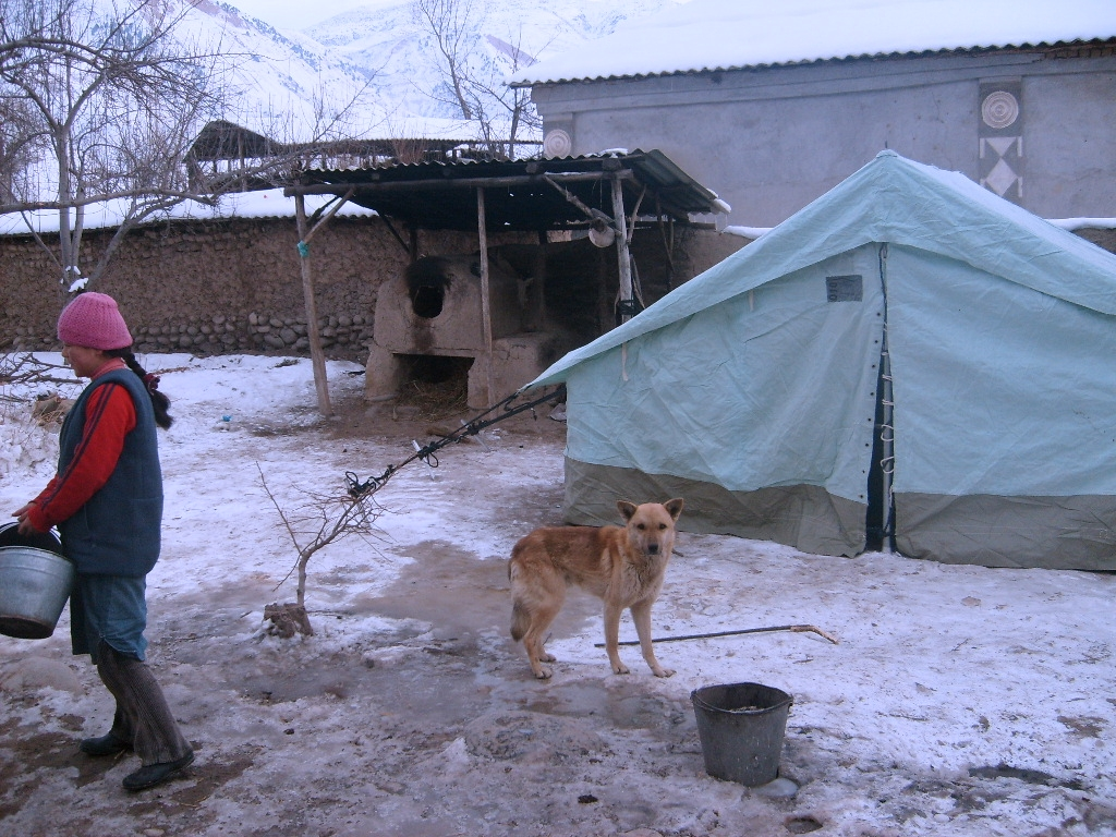 Thousands of survivors of the eathquake that hit southern Kyrgyzstan on 1 January 2008 are living in tents under subzero temperatures.
