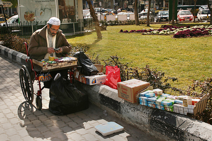 Struggling to survive in Damascus. Some economists' figures show that 70 percent of Syria's GDP goes to only 30 percent of the population.