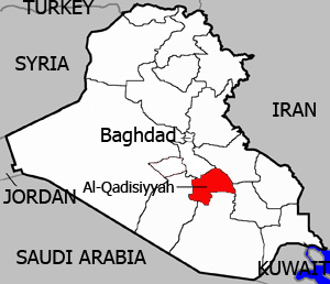 A map of Iraq highlighting Qadissiyah province, which has seen at least 275 cases of Leishmaniasis recently.