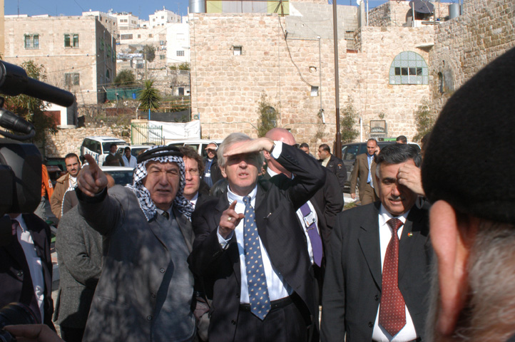 UN under-secretary-general for humanitarian affairs John Holmes on a tour of Hebron in the West Bank.