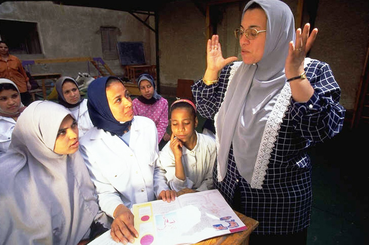 A women's group meets in Upper Egypt to discuss HIV/AIDS. According to NAP, many Egyptians lack knowledge of HIV/AIDS and how it is transmitted.