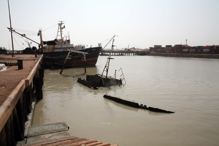 General view of the main port of Bissau, capital city of Guinea-Bissau Feburary 2008. Machinery at port has broken down and costs of imports and exports are rising.