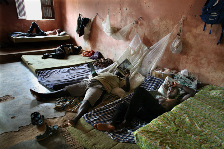 Former addicts rest in a room in Desafio Jovem drug and alcohol rehabilitation center in Quinhámel  30 kms from Bissau Feburary 2008. use of crack cocaine is in rise in the country since Guinea-Bissau became an international transshipment point since 200