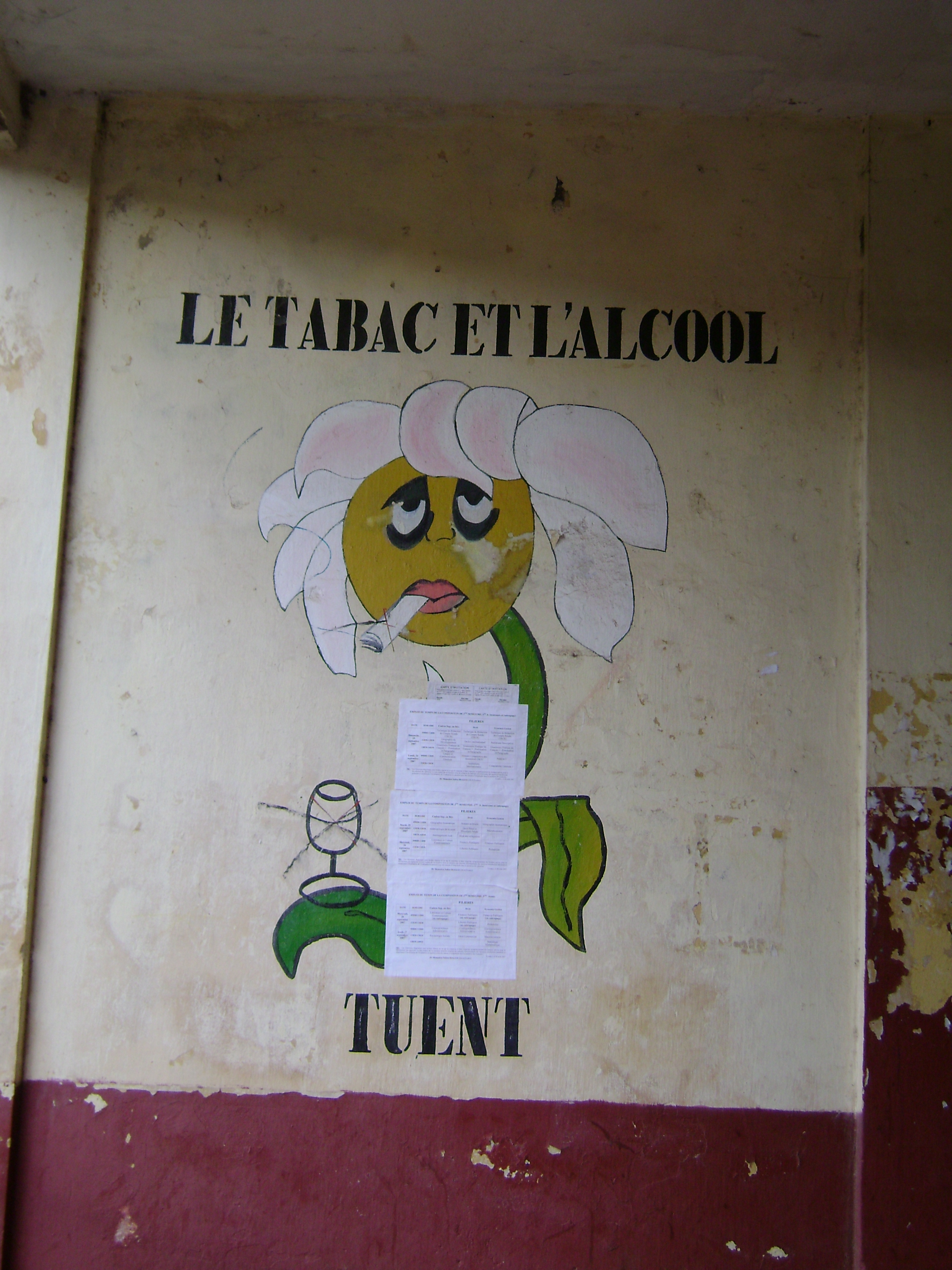 Anti-tobacco, anti-alcohol message painted on wall at Lycee Donka, Conakry, Guinea. 'Tobacco and alcohol kill'. October 2007.