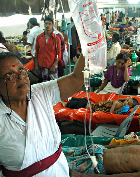 Patients receiving intravenous fluid at the ICDDR,B hospital in Dhaka.