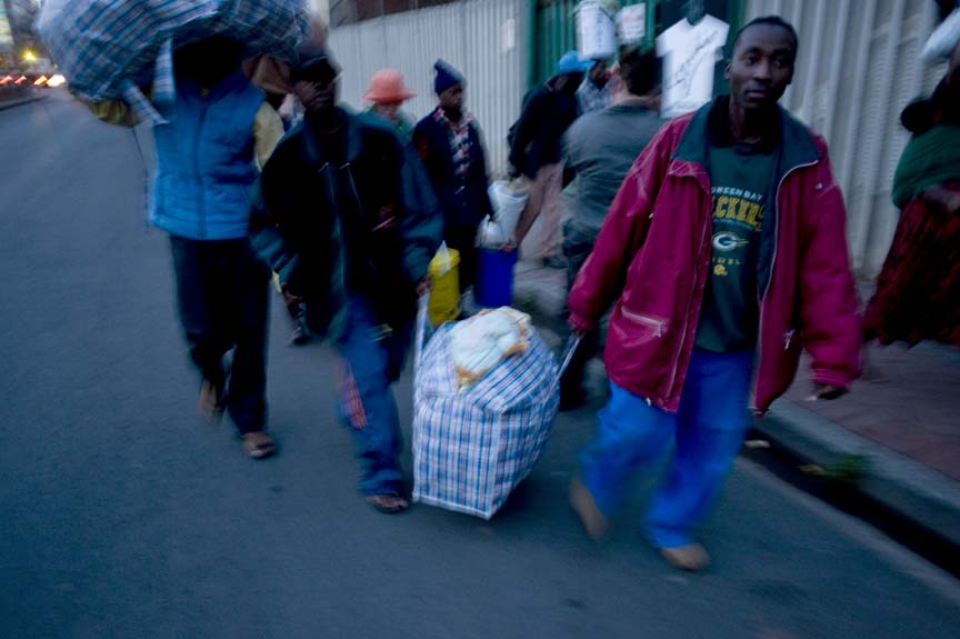 Mob violence targets foreigners in Jeppe street, Johannesburg. May 2008