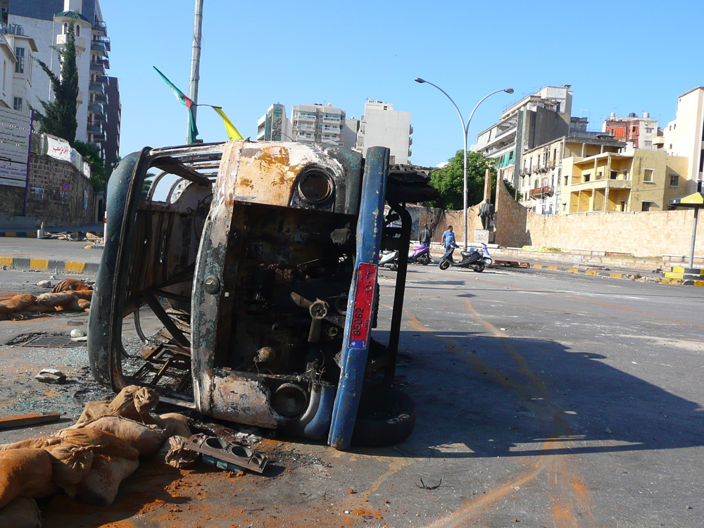 Impromptu roadblocks again marked parts of Beirut's former civil war demarcation line during this month's violence.