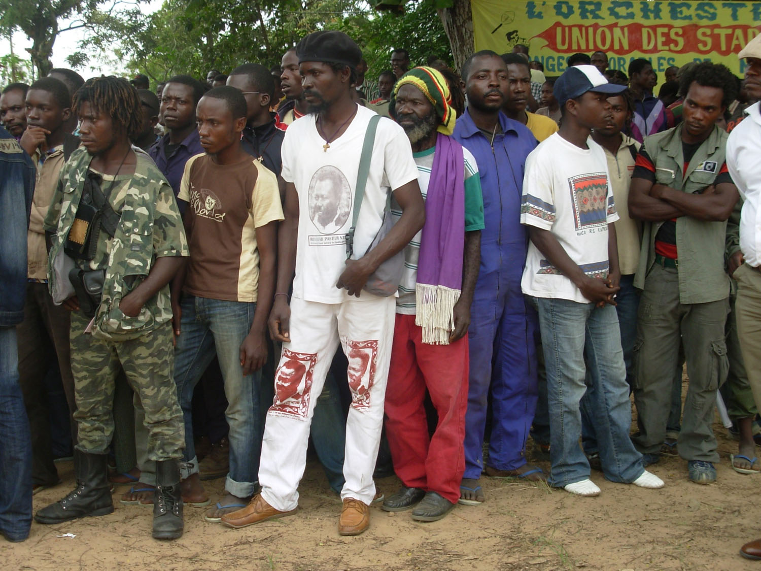 Former Ninja fighters at the launch of a national demobilisation programme in the town of Kinkala.