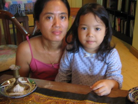 Corina Samuel, 43, and her five-year-old daughter Hannah. Their home outside the former capital Yangon was destroyed by Cyclone Nargis on 2 and 3 May 2008.
