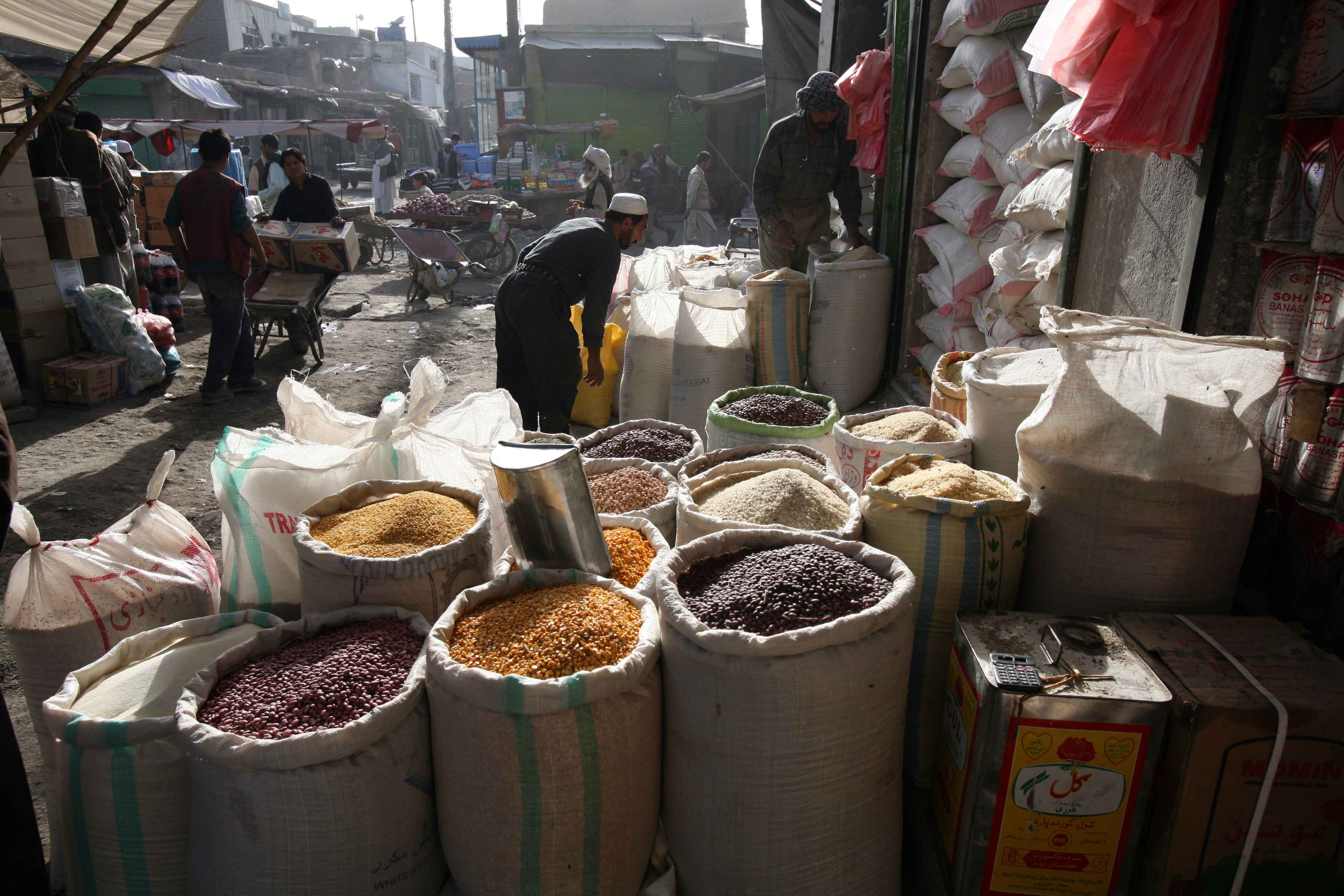 Cereals are displayed for sale in central market of Kabul, Afghan, June 2008. Due to high food prices majority of the people cannot afford regular daily meals.