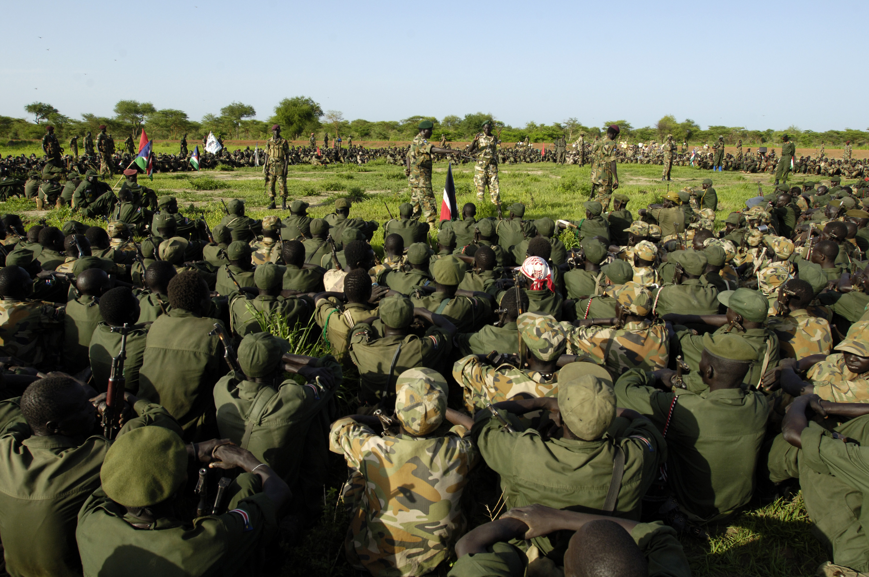 SPLA soldiers redeploy south from the Abyei area in line with the road map to resolve the Abyei crisis. Sudan. June 2008.