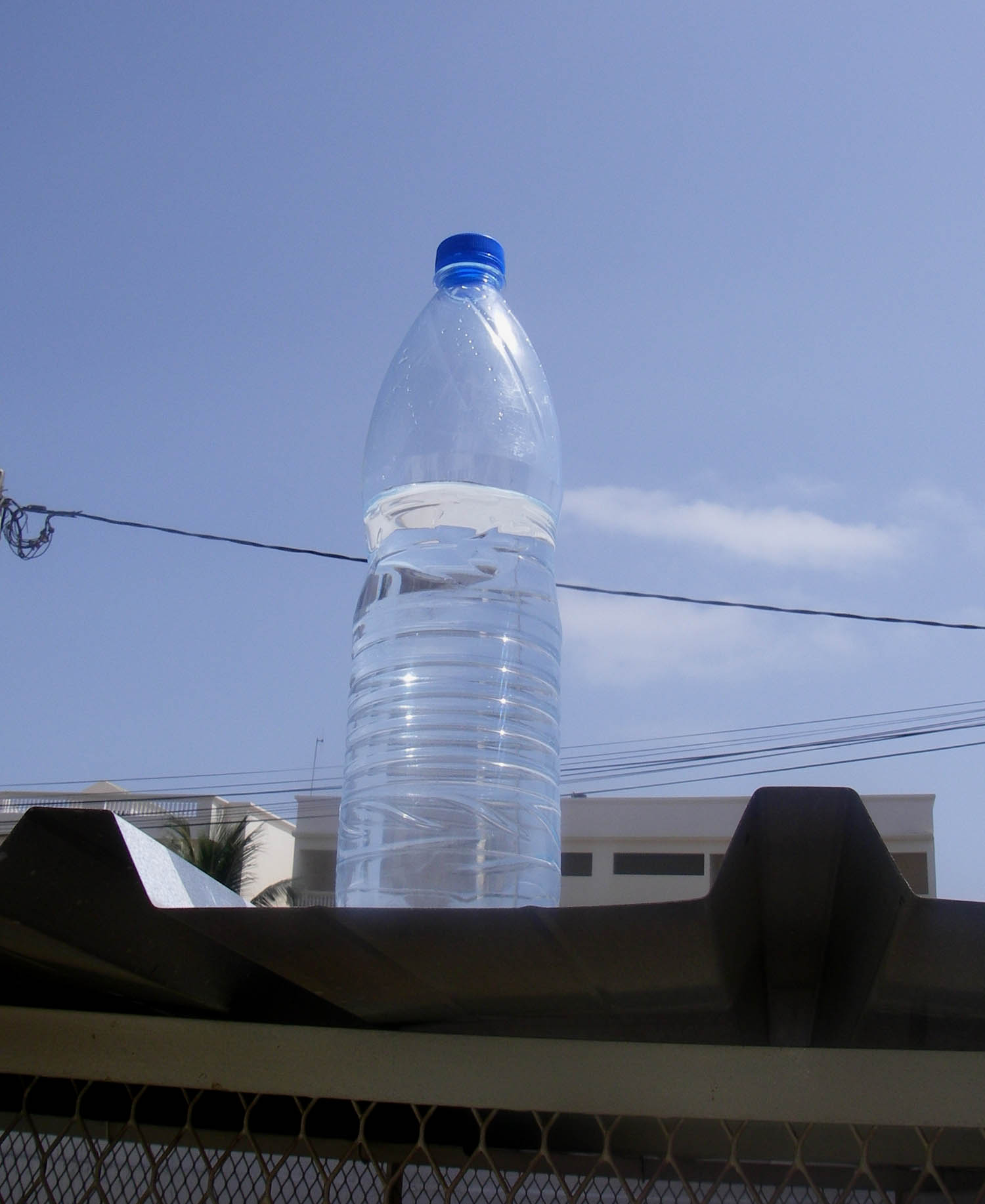 is plastic water bottle in the sun.