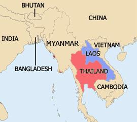 A map of Thailand, Laos and the surrounding region.